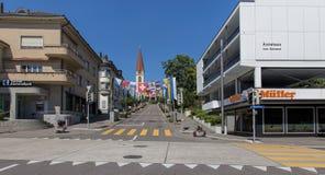 Calle adornada con las banderas Imagen de archivo