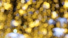 Calle adornada para la celebración de la Navidad y del Año Nuevo Guirnaldas como imitación de la lluvia de oro Clientes cerca de  almacen de video