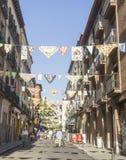 Calle adornada para los partidos Fotos de archivo
