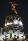 Calle Alcala at night, with Edificio Metropolis, Madrid, Spain Royalty Free Stock Photo