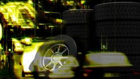 Calle animada con las ruedas ilustración del vector