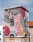 Calle Art Vila en Nova de Gaia, Portugal imagenes de archivo