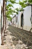 Calle blanca estrecha de Andaluc3ia española Foto de archivo libre de regalías