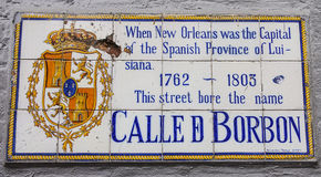 Calle Borbon - Famous Bourbon street in New Orleans French Quarter - NEW ORLEANS, LOUISIANA - APRIL 18, 2016 Stock Photo