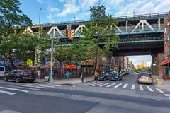 Calle cerca del puente de Manhattan en abajo Manhattan, Fotografía de archivo libre de regalías