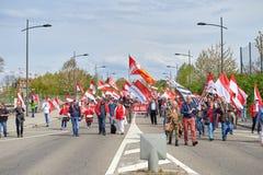 Calle cerrada cerca del Parlamento Europeo Imagen de archivo