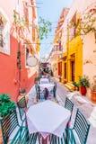 Calle colorida de Rethimno imágenes de archivo libres de regalías