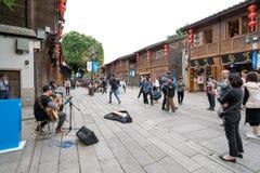 Calle comercial antigua de Fuzhou y cantante perdido fotografía de archivo libre de regalías