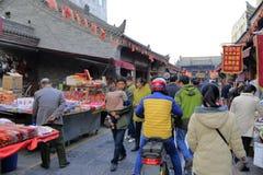 Calle comercial del templo del chenghuangmiao de xian, adobe rgb Foto de archivo libre de regalías