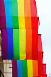 Calle con las banderas del arco iris Imagenes de archivo