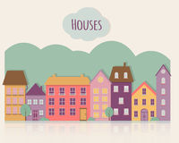Calle con las casas Imagen de archivo libre de regalías