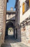 Calle con las casas medievales Fotografía de archivo