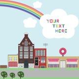 Calle con las casas multicoloras ilustración del vector