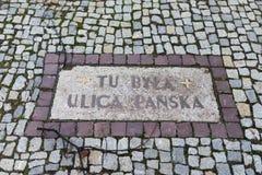 Calle conmemorativa de Panska Fotografía de archivo libre de regalías