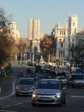 Calle de Alcalá, Madrid, Spain. Puerta de Alcalá and Cibeles fountain in the background Stock Image