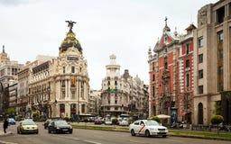 Calle de Alcala i Madrid, Spanien Royaltyfria Foton