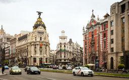 Calle de Alcala in Madrid, Spain Royalty Free Stock Photos