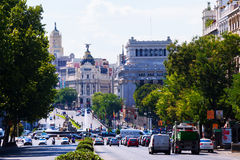 Calle de Alcala from Plaza Independencia. Madrid Royalty Free Stock Photos