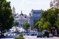 Calle de Alcala von der Piazza Independencia. Madrid Lizenzfreie Stockfotos