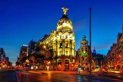 Calle De Alcala w Madryt, Hiszpania Obrazy Stock