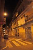 Calle de Barceloneta en la noche Fotos de archivo