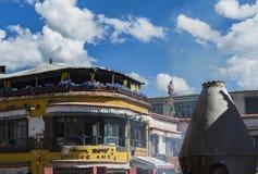 Calle de Barkhor en Lasa, Tíbet Fotos de archivo libres de regalías