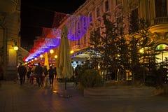 Calle de Bogoviceva por la tarde del advenimiento de Zagreb Imágenes de archivo libres de regalías