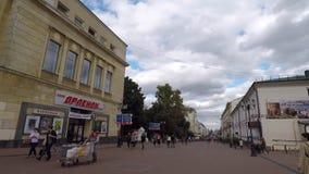 Calle de Bolshaya Pokrovskaya en Nizhny Novgood almacen de metraje de vídeo