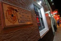 Calle de Borbón por noche Foto de archivo libre de regalías