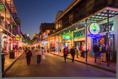 Calle de Bourbon en la oscuridad Imágenes de archivo libres de regalías