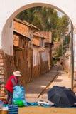 Calle de Chinchero Imagenes de archivo
