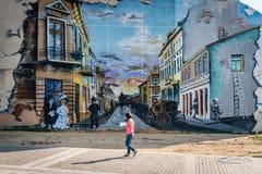 Calle de Fratii Buzesti en Craiova, Rumania Foto de archivo