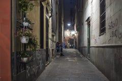 Calle de Génova por noche imágenes de archivo libres de regalías