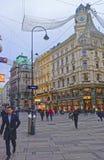 Calle de Graben en la ciudad vieja de Viena en Austria con Christma Fotos de archivo