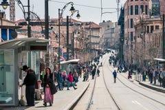 Calle de Jaffa en Jerusalén fotografía de archivo libre de regalías