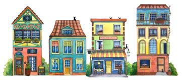 Calle de la acuarela con el café, las casas, la tienda de flores, y los gatos