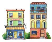 Calle de la acuarela con las casas, el café, y los gatos Fotografía de archivo libre de regalías