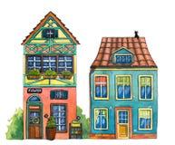 Calle de la acuarela con las casas, la tienda de flores, y los gatos Fotografía de archivo libre de regalías