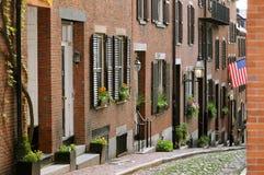 Calle de la bellota en colina de faro de Boston imágenes de archivo libres de regalías