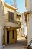 Calle de la bobina en Rethymnon Grecia Imagen de archivo