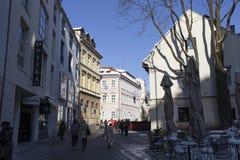 Calle de la calle de Tkalchicheva en Zagreb Fotos de archivo libres de regalías