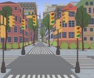 Calle de la ciudad con los edificios, el semáforo, el paso de peatones y la señal de tráfico Fondo del paisaje urbano