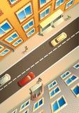 Calle de la ciudad de arriba ilustración del vector