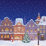 Calle de la ciudad de la Navidad stock de ilustración