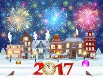 Calle de la ciudad del invierno de la Navidad ilustración del vector
