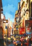 Calle de la ciudad el día soleado Imágenes de archivo libres de regalías