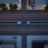 Calle de la ciudad en la noche Visión superior representación 3d Imagenes de archivo