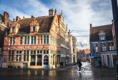 Calle de la ciudad de Gante en el viejo centro fotos de archivo