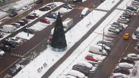 Calle de la ciudad de Moscú del invierno almacen de metraje de vídeo