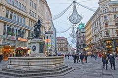 Calle de la columna y de Graben de la trinidad santa de Viena en Austria Fotos de archivo libres de regalías